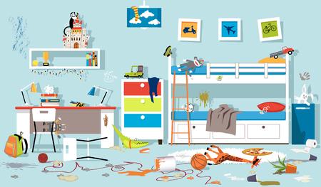 Interior del dormitorio infantil desordenado, ilustración vectorial EPS 8, sin transparencias