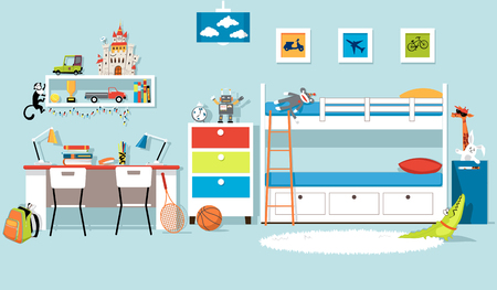 Interior of a boys bedroom with a bank bed and a desk, flat vector design, EPS 8, no transparencies