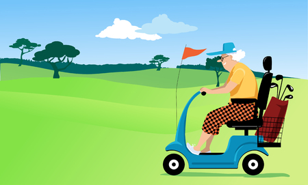 Elderly person driving a mobility scooter on a gold course, EPS 8 vector illustration