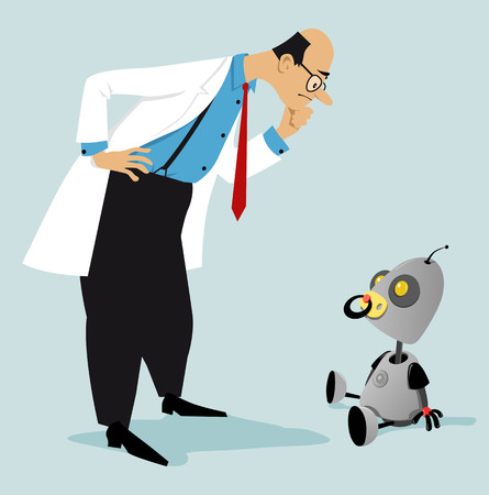 Scientist looking at a newborn baby robot as a metaphor for a beginning stage of Artificial intelligence development,vector illustration Illustration