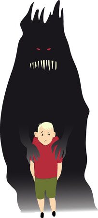 Scary monster holding a little boy as a metaphor for mental health issues or abuse,  vector illustration 일러스트