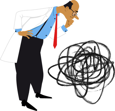 Scientist in a lab coat looking at a tangled ball as a metaphor of problem solving, vector illustration