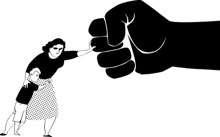 Woman fighting back a giant fist, protecting her child from abuse and domestic violence, black vector silhouette, no white objects