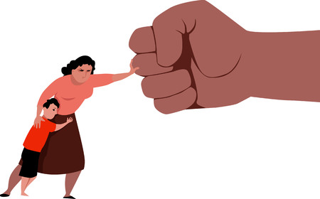 Woman fighting back a giant fist, protecting her child from abuse and domestic violence, vector illustration