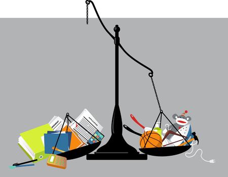 Broken balance scales with office tools on one pan and home-related items on another, representing a work-life balance disturbed,  vector illustration