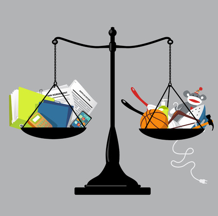 Balance scales with office tools on one pan and home-related items on another, representing a work-life balance, vector illustration Illusztráció