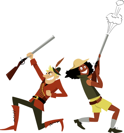 Male and female hunters cheering and firing in the air, EPS 8 vector illustration