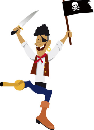 Happy pirate jumping and waving skull and cross-bone flag, Illustration