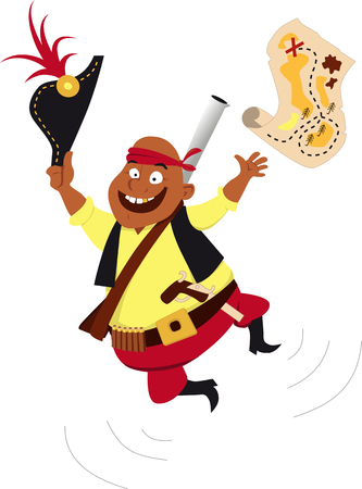 Happy pirate jumping and throwing a treasure map in the air, EPS 8 vector illustration