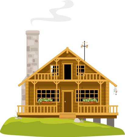 Lodge or big summer cabin with a chimney Illustration