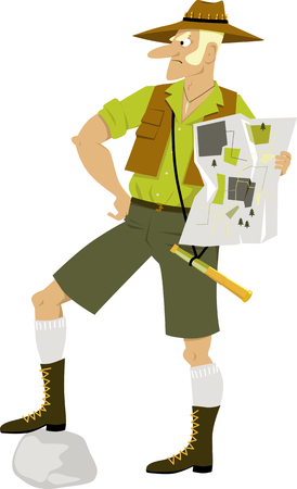 Aussie outdoor guide with a map, EPS 8 vector illustration Illustration