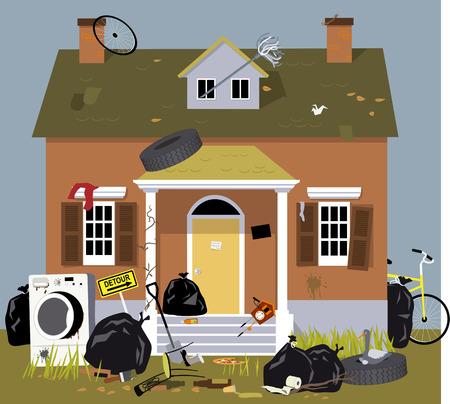 Buitenkant van een huis, bedekt met vuilnis, rommel en puin, EPS-8 vectorillustratie