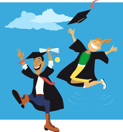 Couple of college graduates cheering and jumping in gowns and caps, EPS 8 vector illustration