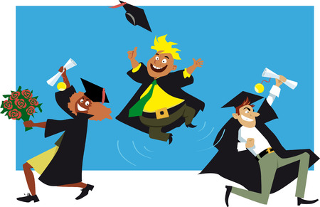 Three college graduates in graduation gowns and caps cheers to their achievement, EPS 8 vector illustration