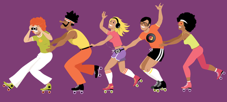 Group of young people dressed in 1970s fashion roller skating, EPS 8 vector illustration