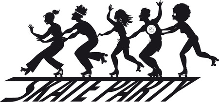Group of people roller skating over a skate party banner, EPS 8 vector silhouette, no white objects