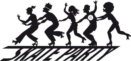 Grupo de personas patinando sobre una pancarta de fiesta de skate, silueta vectorial EPS 8, sin objetos blancos