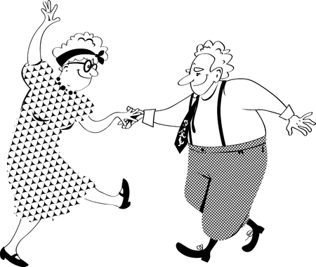 Cute senior citizens couple dancing, EPS 8 vector line illustration, no white objects