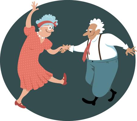 Cute senior citizens couple dancing, EPS 8 vector illustration