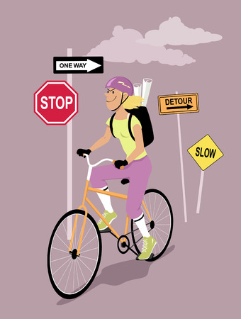 Female bike messenger riding living behind prohibiting road signs, EPS 8 vector illustration Ilustrace