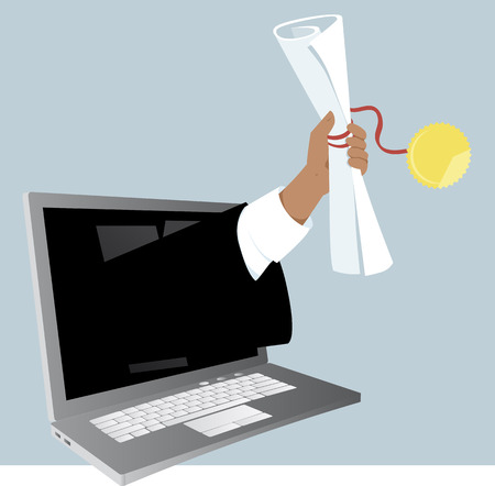 A hand with a college or university diploma coming out of a computer screen, as a metaphor for on-line education, EPS 8 vector illustration