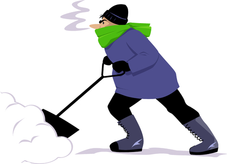Man shoveling snow, isolated on white, EPS 8 vector illustration