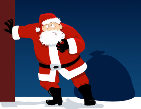 Santa Claus is having a heart attack as a metaphor for a holiday season stress, EPS 8 vector illustration