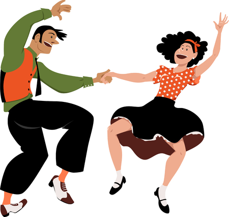 Funny cartoon couple dancing lindy-hop, rock and roll or swing, EPS 8 vector illustration