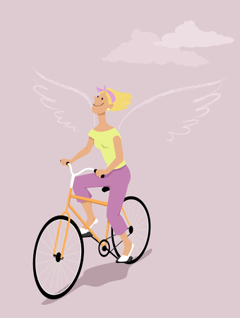 Happy woman riding a bicycle, silhouette of wings behind her shoulders, EPS 8 vector illustration