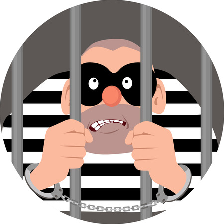 Masked criminal sitting behind bars, EPS 8 vector circular illustration