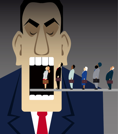 Line of business people moving inside a huge mechanical mouth representing an inhuman corporate world, EPS 8 vector illustration Ilustração