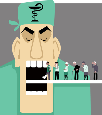 Line of patients moving inside a horrible mechanical doctor mouth, EPS 8 vector illustration Stock Illustratie