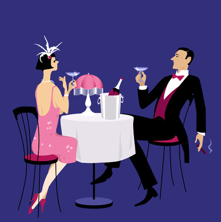 Couple dressed in 1920th period clothes having champagne in a night club, EPS 8 vector illustration