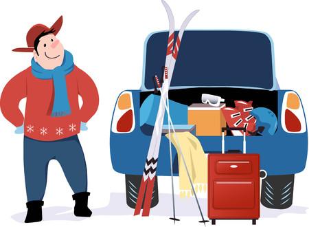Hombre de pie en un coche con el maletero abierto lleno para un viaje de esquí, ilustración vectorial EPS 8