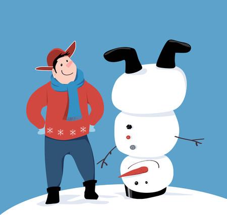Man building a snowman upside down, EPS 8 vector illustration
