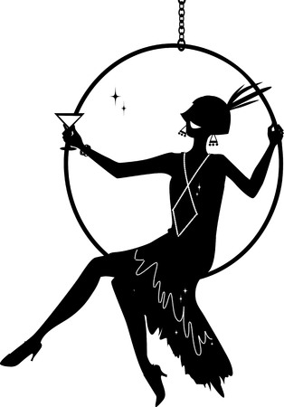 Junge Frau gekleidet in der Mode der 1920er Jahre, die in einem hängenden Reifen sitzt und einen Cocktail hat, EPS 8 Vektorsilhouette, keine weißen Objekte