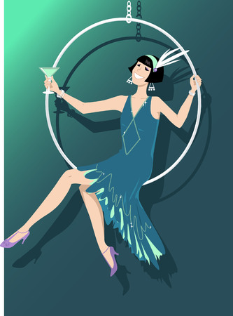 Young woman dressed in 1920s fashion sitting in a hanging hoop and having a cocktail, EPS 8 vector illustration Illustration