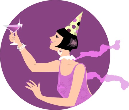 Young woman dressed in 1920s style fashion and a party hat having a toast with a cocktail or campaign, EPS 8 vector illustration