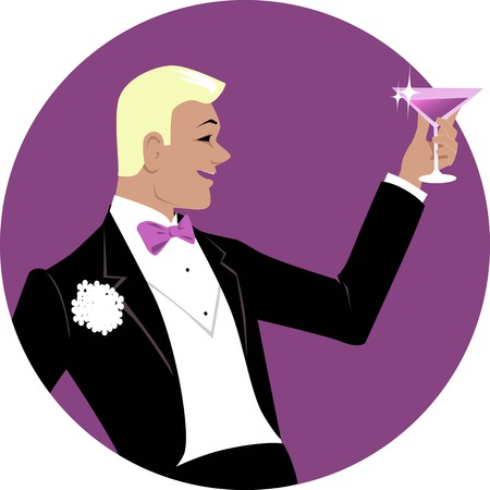 Young man dressed in formal 1920s style fashion having a toast with a cocktail or campaign, EPS 8 vector illustration Illustration
