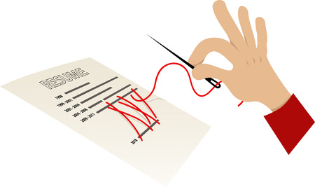 Human hand with a sewing needle attempting to sew shut a gap in a resume, EPS 8 vector illustration Stock Illustratie