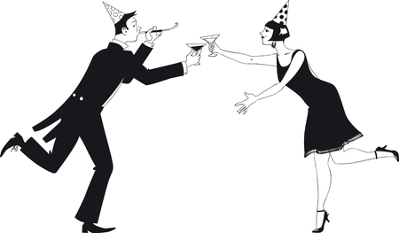 Couple dressed in 1920 fashion having champagne and celebrating Christmas, new year or a birthday, EPS 8 vector illustration, no white objects Illustration