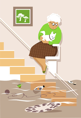 An elderly lady riding a stair lift in a flooded house, holding a scared dog on her lap, EPS 8 vector illustration