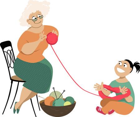 Niña ayuda a una mujer mayor a desenredar una madeja de hilo, ilustración vectorial EPS 8