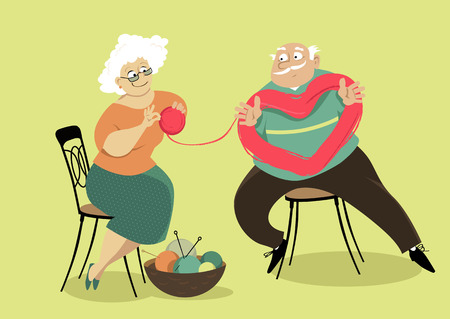 A senior couple untangling a skein of yarn in a shape of heart, EPS 8 vector illustration Illustration