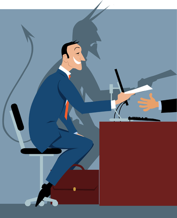 Prospective employee at the job interview with a shadow of a devil as a metaphor for a bad hire, EPS 8 vector illustration
