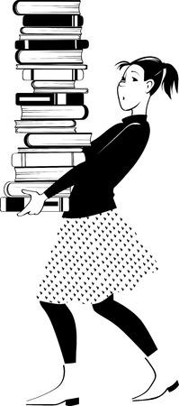 Estudiante de la chica joven que lleva una pila de libros Foto de archivo - 107062534
