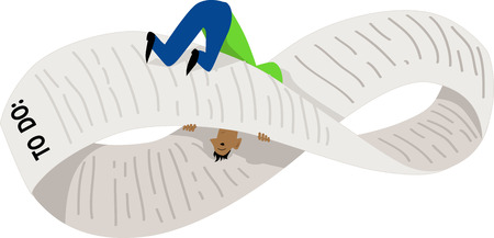 Disoriented man on a endless to-do list, bent into a Möbius strip, EPS 8 vector illustration Çizim