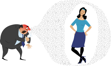 Woman with strong immune system or who received vaccination is protected from germs Stock Illustratie