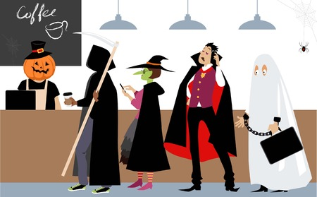 Diverse group of people in Halloween costumes standing in line to a cash register in a coffee shop, EPS 8 vector illustration Ilustracja