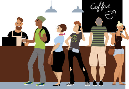 Diverse group of people standing in line to a cash register in a coffee shop, EPS 8 vector illustration Ilustracja